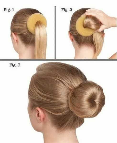 Как сделать прическу с бубликом на длинные и на средние волосы