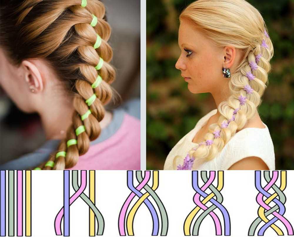 Плетение кос с лентой: 4 мастер-класса с пошаговыми фото
