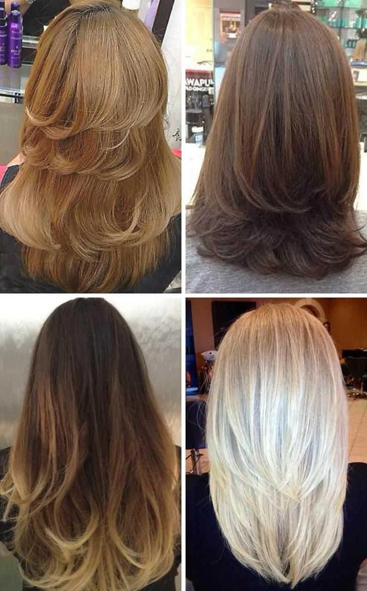 Каскад на средние волосы с челкой на 122 фото