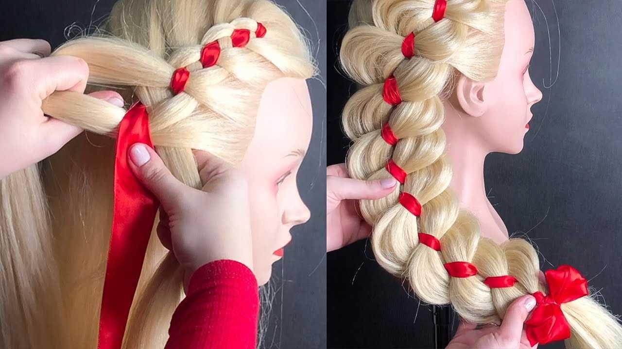 Пошаговое плетение кос с лентой