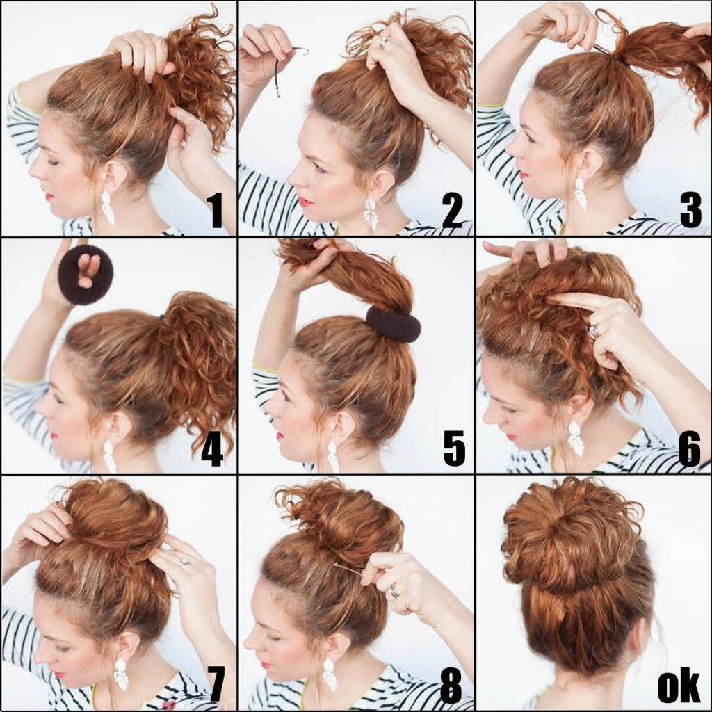 Как сделать пучок с бубликом на средние и короткие волосы