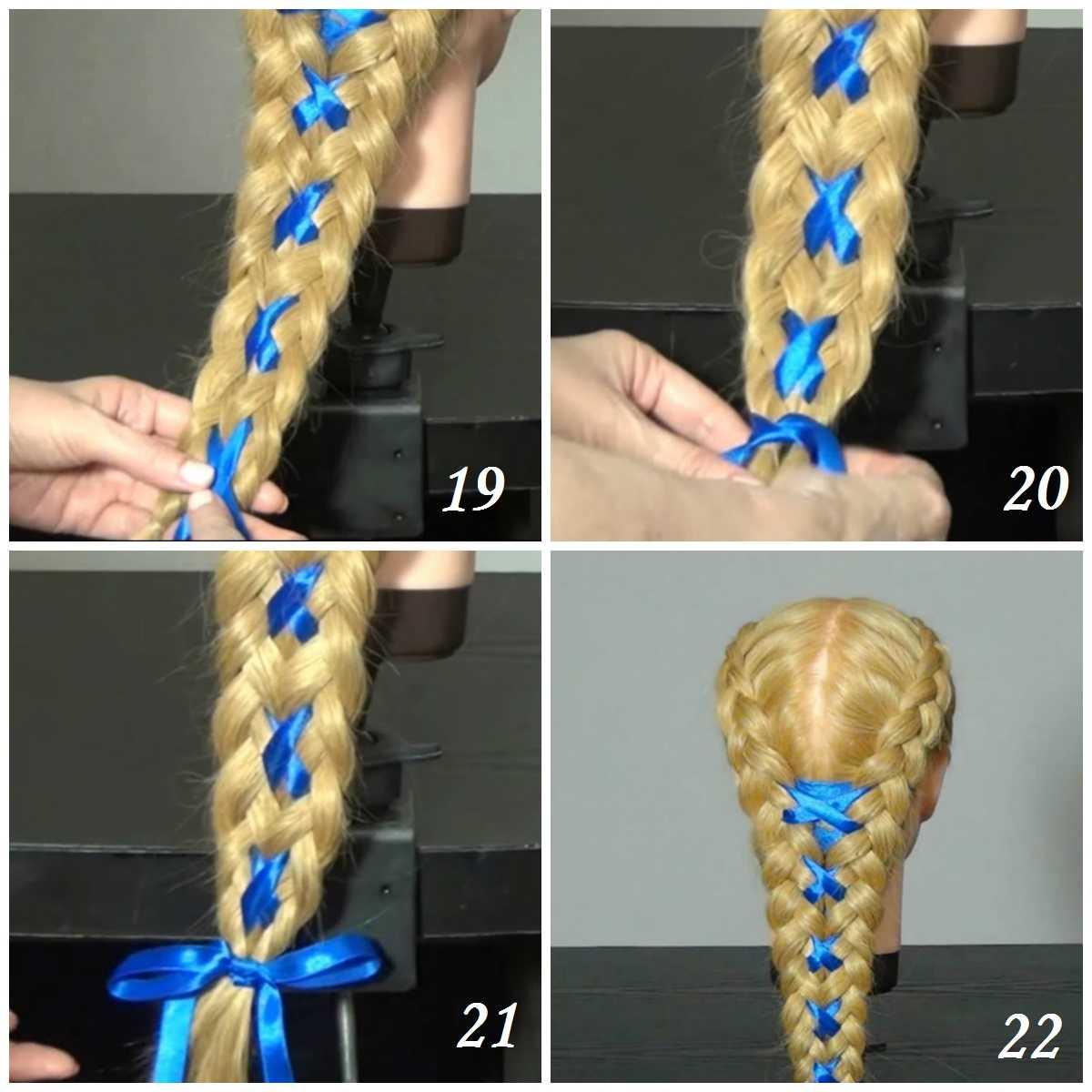 Как плести косы с лентами